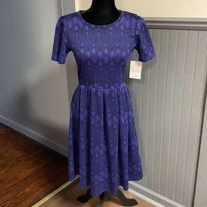 NWT LuLaRoe Purple & Black Printed Amelia Dress